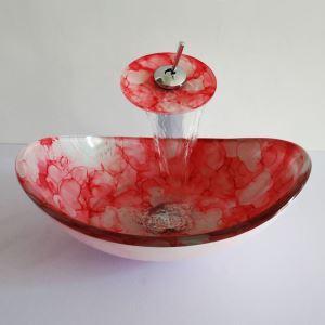 (Entrepôt UE)Style moderne simple robinet et lavabo oval ensemble en verre trempé à motif rouge pour salle de bain