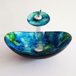 (Entrepôt UE)Style moderne simple robinet et lavabo oval ensemble en verre trempé à motif bleu et vert pour salle de bain