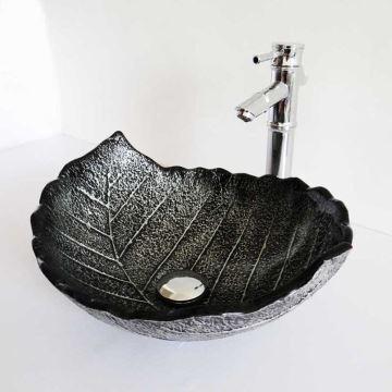 Style moderne simple lavabo en verre trempé coloris noir forme de ...