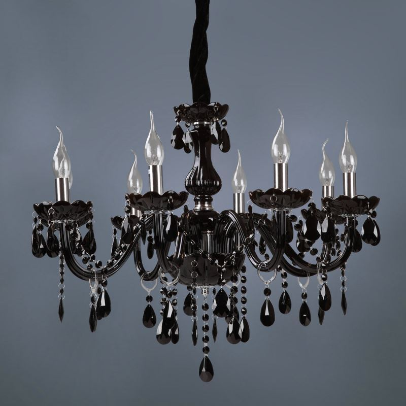 lustre cristal baroque 8 lampes d 70 cm noir pour salle. Black Bedroom Furniture Sets. Home Design Ideas