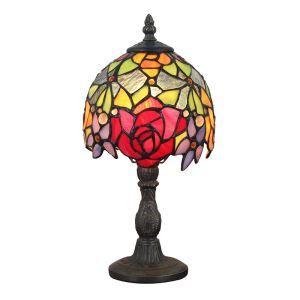 (Entrepôt UE)6 inch Style Pastoral Européen Rétro lampe de table lampe à poser Abat-jour à motif fleur coloris luminaire pour chambre à coucher salon restaurant