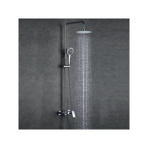 Colonne de douche avec robinetterie en cuivre chromé pour salle de bains moderne
