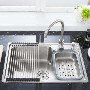 Moderne évier à encastrer en acier inoxydable 304 1 bac de renforcement avec panier de vidage et distributeur de savon pour cuisine S6845