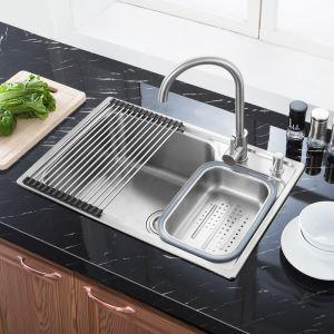Moderne évier à encastrer en acier inoxydable 304, 1 bac de renforcement avec panier de vidage et distributeur de savon pour cuisine S7245