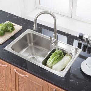 Moderne évier à encastrer en acier inoxydable 304, 1 bac de renforcement avec panier de vidage inox et distributeur de savon pour cuisine S7845