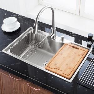 Moderne évier à encastrer en acier inoxydable 304, 1 bac design personnalisé courbe avec panier de vidage et distributeur de savon pour cuisine MF7848B