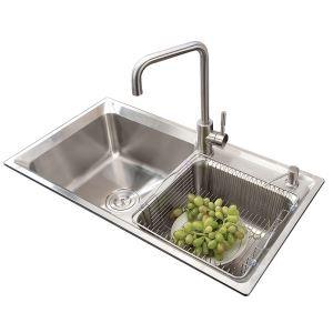 Moderne évier à encastrer en acier inoxydable 304, 2 bacs simple avec panier de vidage et distributeur de savon pour cuisine AOM7138