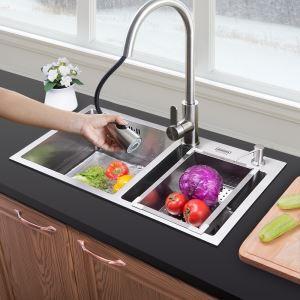 Moderne évier à encastrer en acier inoxydable 304, 2 bacs manuels à 1.2mm d'épaisseur avec panier de vidage et distributeur de savon pour cuisine HM7240