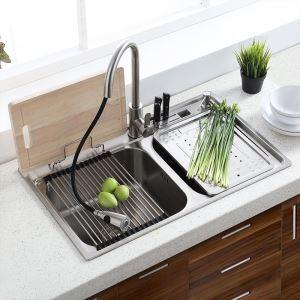 Moderne évier à encastrer en acier inoxydable 304, 2 bacs simple avec plateau de vidange, étagère de vidage,distributeur de savon pour cuisine MF8048