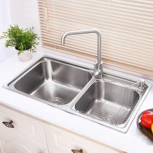 Moderne évier à encastrer en acier inoxydable 304, 2 bacs avec panier de vidage,distributeur de savon pour cuisine