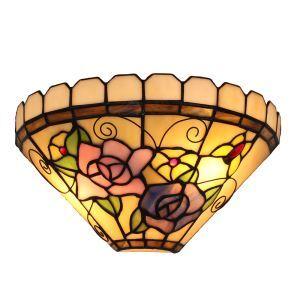 (Entrepôt UE)12inch Applique murale intérieur tiffany lampe murale jardin vintage européen à motif des fleurs et papillons luminaire pour cuisine chambre salon chambre