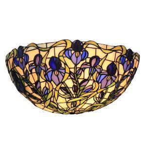 (Entrepôt UE)12inch Applique murale intérieur tiffany lampe murale jardin vintage européen à motif des fleurs bleu luminaire pour cuisine chambre salon chambre