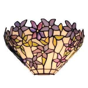 (Entrepôt UE)12inch Applique murale intérieur tiffany lampe murale jardin vintage européen à motif de teinte violette luminaire pour cuisine chambre salon chambre