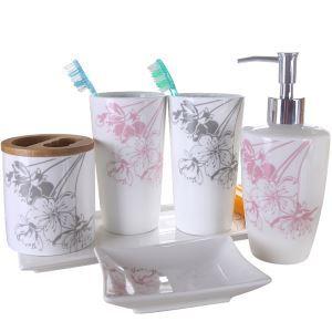 (Entrepôt UE) Moderne Simple Style Japonais Sakura Céramique Créative Résine Kit de Lavage Accessoires de Bain 4/5 pièces fixes