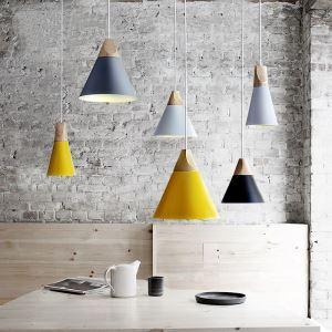 (Entrepôt UE) Lustre style campagne américainne suspension en fer processus peinture coloris blanc jaune gris luminaire cuisine chambre
