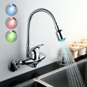 (En Stock) Chromé finition une seule poignée Changement de couleur LED montage mural robinet de cuisine