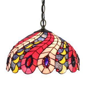 (Entrepôt UE)12inch Lustre style Pastoral Européen Rétro Suspension abat-jour en verre à motif plumes Pteris luminaire pour chambre salon cuisine chambre
