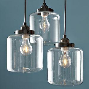 Lustre en verre 60W E27 fer en suspens avec 3 lampes