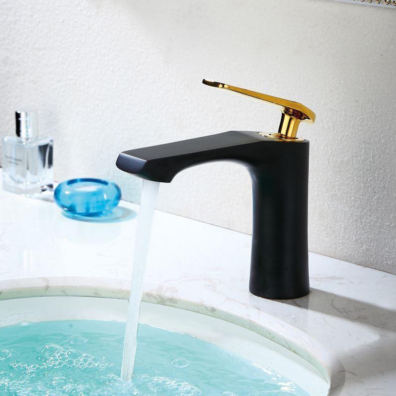 Mitigeur de lavabo laiton noir poign e dor e h16cm r tro pour salle de bains pas cher - Mitigeur salle de bain pas cher ...