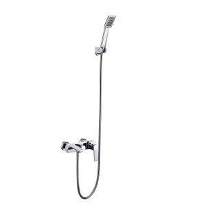 (Entrepôt UE)Mitigeur Robinet de douche chrome pour salle de bains style moderne simple dixé au mur 3 trous poignée d'or