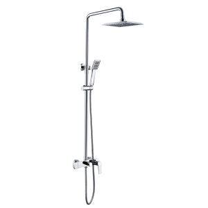 Colonne de douche chrome pour salle de bains pomme de douche carré fixé au mur 3 trous poignée d'or