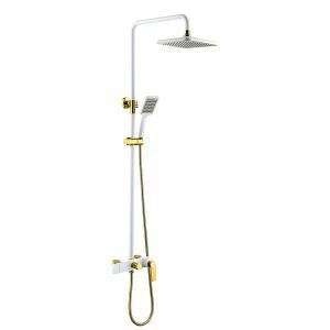 (Entrepôt UE)Mitigeur Robinet de douche blanc style moderne simple pour salle de bains pomme de douche carré fixé au mur 3 trous poignée d'or