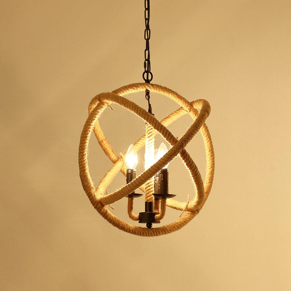 Suspension Design Retro A 3 Lampes Chanvre Corde Lustre Style De
