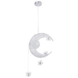 (Entrepôt UE) (DISPONIBLE) Lune étoile Lustre suspension avec 5 lumières luminaire décorative chambre d'enfant chambre bebe cuisine