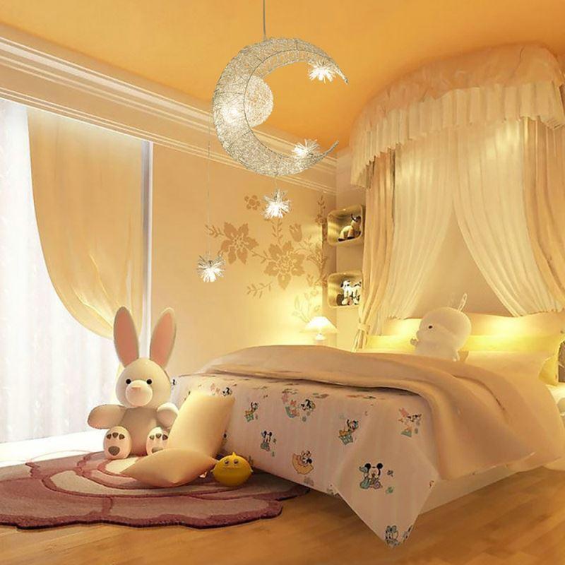 Lune toile lustre suspension avec 5 lumi res luminaire d corative chambre d 39 enfant chambre bebe for Luminaire chambre bebe alinea 2
