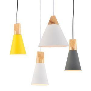 (Entrepôt UE) Lustre design suspension en fer processus peinture coloris blanc jaune gris luminaire cuisine chambre