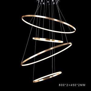 (Entrepôt UE) Moderne simple LED suspension en aluminium Lampe décorative or pour salle 4 anneaux 80+45+80+45cm