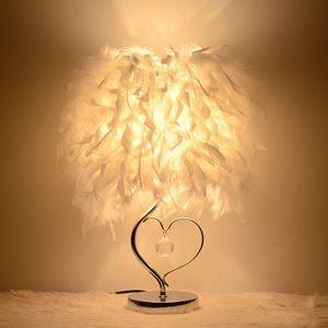 (Entrepôt UE)Lampe de chevet simple élégante base chrome cristal abat-jour des plumes blanc lampe de table luminaire chambre salle d'étude