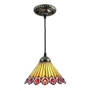 (Entrepôt UE) 8inch Suspension lustre style européen vintage jardin abat-jour en verre à motif des Pteris luminaire chambre salon cuisuine salle à manger