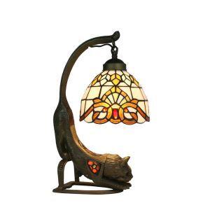 Lampe à poser tiffany pour chevet vintage base de chat à motif colore luminaire chambre salon cuisine
