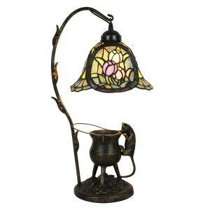 Lampe à poser en verre tiffany pour table chevet base de chat fleurs colore en verre D30*H66cm luminaire chambre salon cuisine