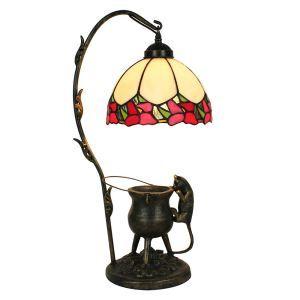 Lampe à poser tiffany pour chevet vintage base de chat bord rouge luminaire chambre salon cuisine