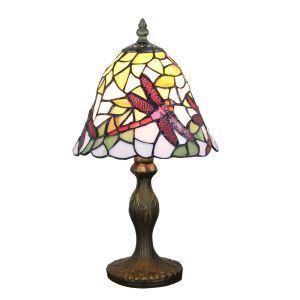 Lampe à poser tiffany pour chevet vintage base en résine à motif des libellules rouge luminaire chambre salon cuisine