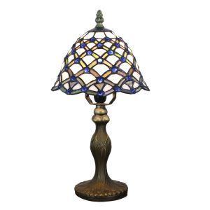 Lampe à poser tiffany pour chevet vintage base en résine à motif colore perles bleu luminaire chambre salon cuisine