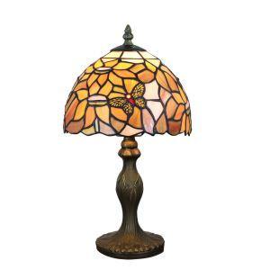 Lampe à poser tiffany pour chevet vintage base en résine motif de papillon et fleur luminaire chambre salon cuisine