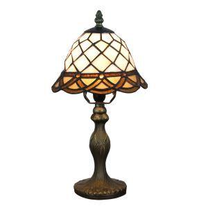 Lampe à poser tiffany pour chevet vintage base en résine motif de grille luminaire chambre salon cuisine
