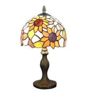 (Entrepôt UE)  Lampe de table chevet style européen vintage jardin base en résine à motif de tournesol luminaire chambre salon cuisine 8inch