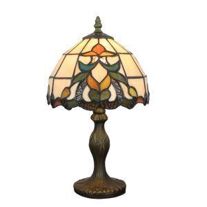 (Entrepôt UE)  Lampe de table chevet style européen vintage jardin base en résine à motif colore luminaire chambre salon cuisine 8inch