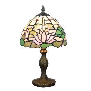 (Entrepôt UE)  Lampe de table chevet style européen vintage jardin base en résine motif de libellule et lotus luminaire chambre salon cuisine 8inch