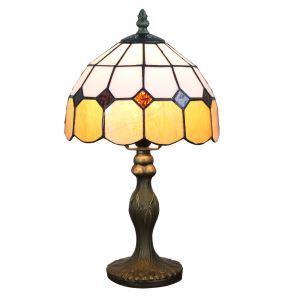 Lampe à poser tiffany pour chevet vintage base en résine bord orange luminaire chambre salon cuisine