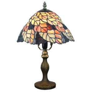 (Entrepôt UE)  Lampe de table chevet style européen vintage jardin base en résine motif de feuille colore luminaire chambre salon cuisine 8inch