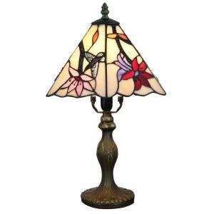 Lampe à poser  tiffany pour chevet vintage base en résine fleurs colibri luminaire chambre salon cuisine