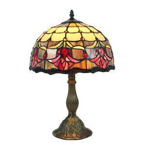 Lampe à poser en verre tiffany pour chevet table fleurs rouge luminaire pour salon cuisine chambre
