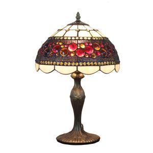 12inch Lampe à poser chevet table Style Pastoral Européen Rétro abat-jour à motif colorée luminaire pour salon cuisine chambre