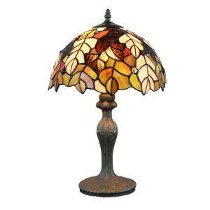 12inch Lampe à poser chevet table Style Pastoral Européen Rétro abat-jour libellule feuille luminaire pour salon cuisine chambre