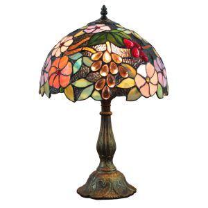 Lampe à poser en verre tiffany D30cm lampe de chevet fleurs et fruits colorés luminaire pour chambre
